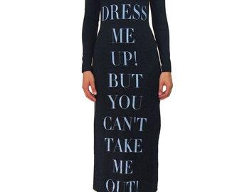 MOSCHINO JEANS You Can Dress Me Up Print Dress SIZE 4 Stretch Black Text Rare