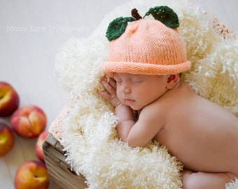 Peach Hat, Knit Baby Hat, Knit Toddler Hat, Photo Prop, Reborn Baby, Fruit Hat, Baby Shower Gift, Birthday Gift, Halloween Costume, Dress-up