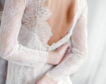 Long sleeve wedding dress, Wedding dress long sleeve, Boho wedding dress, Open back wedding dress, Backless wedding dress, 0053 // 2017