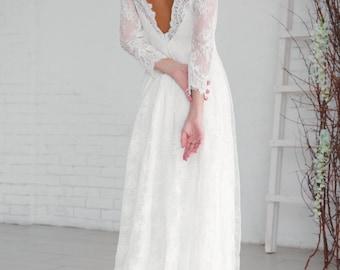 Modest wedding dress, White wedding dress, Princess wedding dress, Backless wedding dress, Lace wedding dress, 0054 // 2017