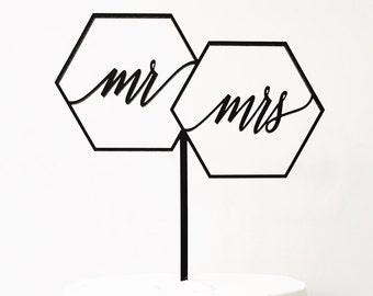 """Geometric Mr Mrs Cake Topper 7"""" inches, Geo Cake Topper, Wedding Cake Topper, Wedding, Rustic Laser Cut Toppers, Acrylic Cake Topper 1 count"""