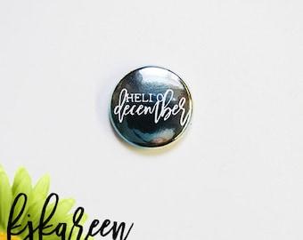 """1 """"- Hello December metal watercolor blue badge *."""