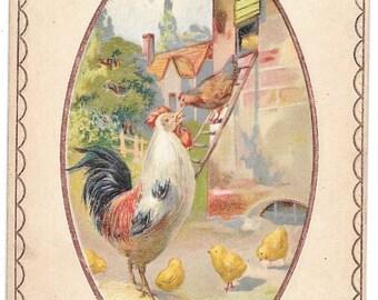 2 Easter Postcards Rooster Hen and Chicks  1911  1912 H. Wessler