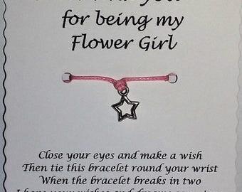Flower Girl Thank You, Wish Bracelet, Flower girl Thanks,  Flower girl Gift, Thank you Flower Girl , Gift Flower girl, Flower girl bracelet