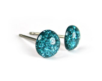 Nebulas Spin Glitter Stud Earrings, Teal Studs, Tiny Stud Earrings, Holographic, Pure Titanium Earrings, Surgical Steel, Canadian Seller