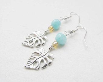 Monstera earrings, leave earrings, nature earrings, summer earrings
