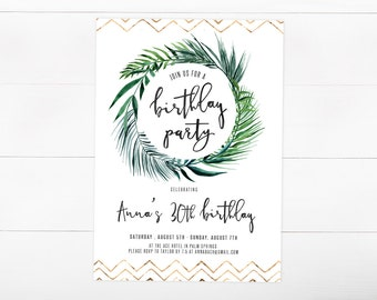Birthday Party Invitation, Tropical, Palm Leaf, Gold, Adult Birthday Invite (862)