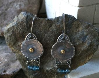 Ancient Jewelry, Roman Earrings, Roman Shield Earrings, Etruscan Earrings, Byzantine Earrings, Silver Earrings, London Blue Topaz Earrings