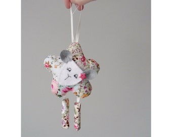 Hanging Sheep Decoration. Floral Fabric Animal. Fabric and Felt Animal. Shabby Chic Gift. Car Decoration. Gifts for Girls. Made in Wales