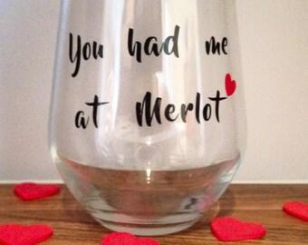 Merlot stemless wine glass