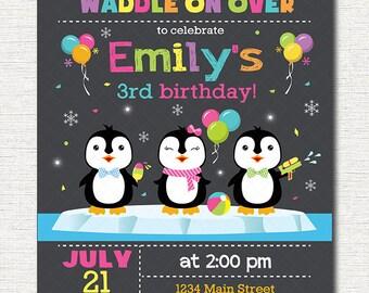Penguin Birthday Invitation, Penguins Invite, Printable