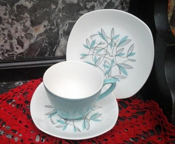 JESSIE TAIT VINTAGE - Fashion Shape - 1950's - Vintage tea cup - Tea or Coffee Trio - tea set - English china - Retro design - Mid Century