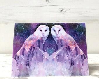 Owl Greeting Card - Owl Birthday Card - Bird Greeting Card - Bird Birthday Card - Blank Card - Card for Her - Card for Him - Bohemian Card