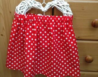 Handmade retro style red polka dot cotton girl's skirt, 3-4 years