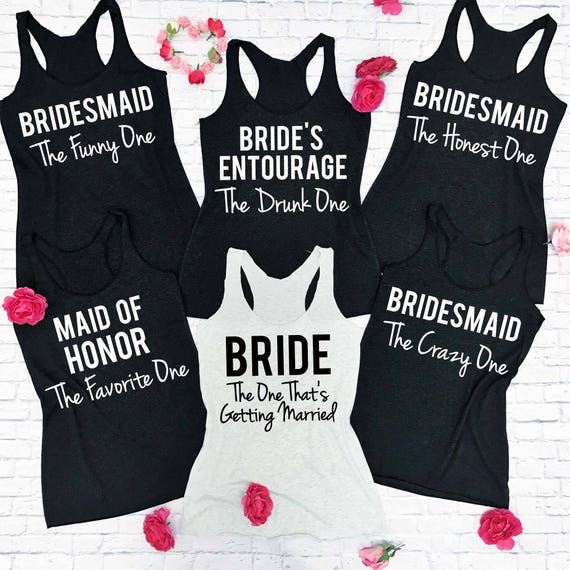 6 Custom Bridesmaid Tank Tops Bachelorette Party Shirts