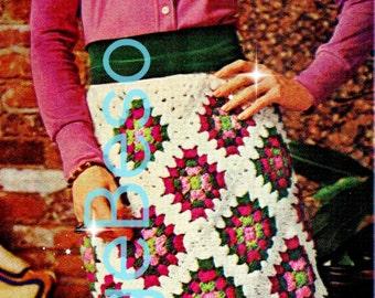 Skirt CROCHET PATTERN 1970s Retro Ladies Granny Square Skirt Crochet Pattern Granny Skirt Rose Garden Instant Download PDF Pattern