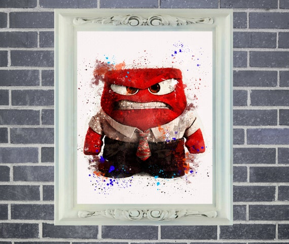 Inside Out Anger Art Print ~ Watercolor Painting, Home Decor, Nursery Decor, Wall Poster, Art by Star Dangle