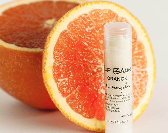 Lip Balm ORANGE  in a clear twist up tube, ORGANIC, Moisturizing