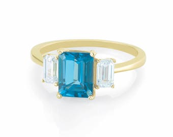 London Blue Topaz Emerald Cut Three 3 Stone Engagement Ring w/ Moissanite Accents - Affordable Ring in 14K Gold - Forever Brilliant Emerald