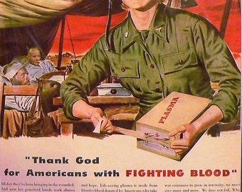 1940 Belmont Radio Ad Army Nurse Matted Vintage Print