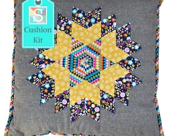 Diamond Cushion Kit in Michael Miller's Sweet Emma Fabric - English Paper-Piecing (EPP) Kit, Slow Craft Kit, Hand Sewing
