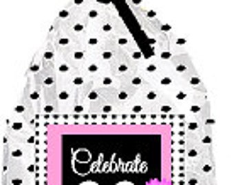 CakeSupplyShop Item#090BFC 90th Birthday / Anniversary Pink Black Polka Dot Party Favor Bags with Twist Ties -12pack