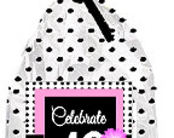 CakeSupplyShop Item#049BFC 49th Birthday / Anniversary Pink Black Polka Dot Party Favor Bags with Twist Ties -12pack