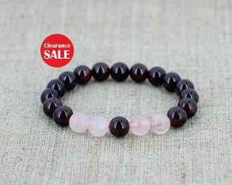 Garnet bracelet Rose quartz bracelet Taurus jewelry January birthstone bracelet for mom gifts for girlfriend gift for men gift for boyfriend