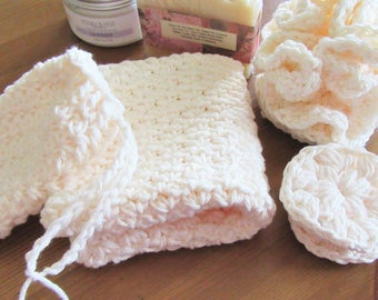 Crochet Spa Set, Soap Saver, Crochet Scrubbies, Bath Pouf, Farmhouse Washcloth, Handmade, Ivory, Natural, Housewarming, Bath Gift Set