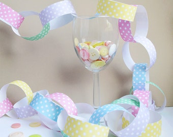 Pastel Polka Dot Paper Chain Kit - Party Decorations - Kid's Craft - Pastel Coloured Paper Chains - Wedding Decor
