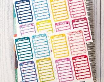 16 weekly weekend sticker, to do stickers, planner stickers, relax sticker filofax kikkik plum paper reminder