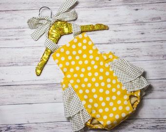 Baby Girl Romper- Yellow polka dot romper and head wrap set, black and white polka dot, summer ruffle romper, girls polka dot outfit