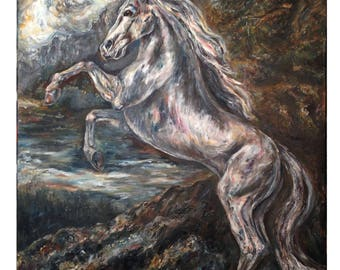 Original Horse Painting on Canvas - Cresswell Crags, By Barbara Colbert