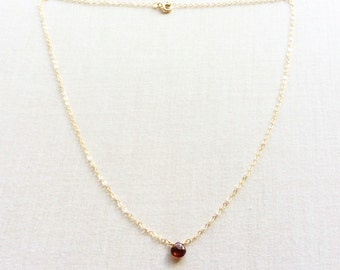 Garnet Necklace - January Birthstone - Garnet Necklace Gold - Garnet Jewelry - 14k Garnet Necklace - Garnet Choker - Birthstone Necklace