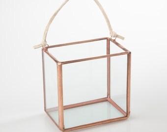 NEW Mini Square Hanger Terrarium // Clear Glass // Planter for Indoors