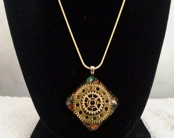Dichroic Gold Color Steampunk Gears Necklace