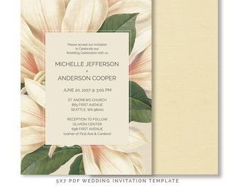 Magnolia Blush Floral Wedding Invitation Template, PDF DIY Wedding Template, Cream, Green, Floral Invitation, WDI26, Instant Download