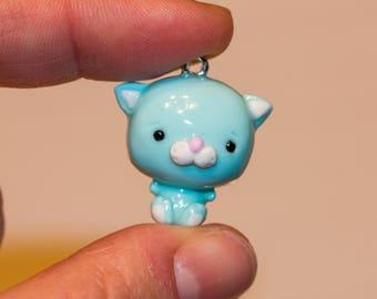 Polymer clay kawaii chibi kitten charm