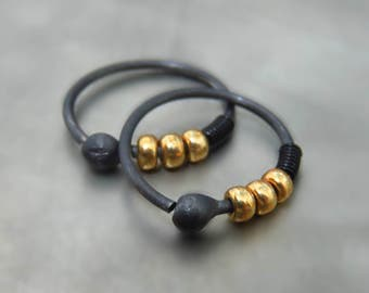 oxidized silver hoop earrings / beaded hoop earrings - everyday hoop earrings  - earrings for men - gold hoop earring
