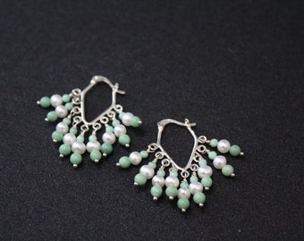 Sterling Silver Beaded Hoop Earrings with Green Turquoise and Pearl