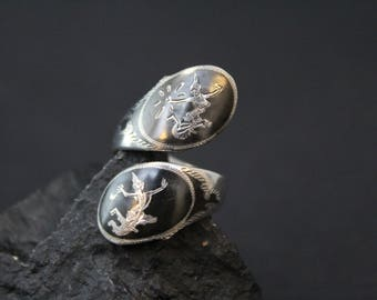 Sterling Silver Siam Bypass Ring, Sterling Niello Jewelry, Sterling Silver Siamese Niello Ring, Siamese Sterling Silver Ring