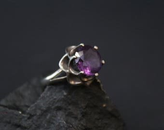 Sterling Silver Purple Gemstone Taxco Ring, Sterling Taxco Ring, Taxco Gemstone Jewelry, Sterling Ring with Purple Gemstone