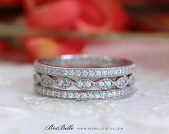 Three Milgrain Eternity Set Ring-1.62 ct.tw Brilliant Cut Pave Set Diamond Simulants-Art Deco Stackable Ring-Sterling Silver [65360ME-3]