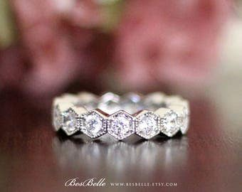 1.5 ct Vintage Art Deco Eternity Ring-Brilliant Cut Diamond Simulants-Hexagon Shaped All Around Stones-Solid Sterling Silver [7217]