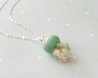 Aqua jellyfish necklace, nautical necklace, marine jewelry, animal necklace, animal totem, ocean pendant, tentacle jewelry, jellyfish charm