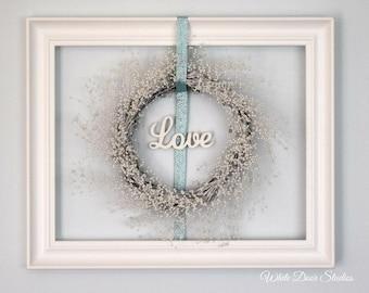 Framed Pearl Wreath 'Love' Wall Decor | Romantic Decor | Wedding Decor | Bedroom Decor | White Pearl Wreath in Open Frame