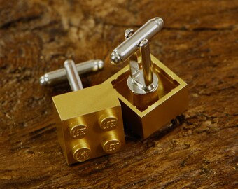 Gold Cufflinks With A Silver Cuff Link Back - Anniversary Gift For Him - Handmade Gift For Him