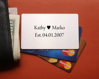 Personalized husband gift, custom anniversary gift, mens gift, gift for boyfriend, Personalized Wallet insert Card, Your Own Message