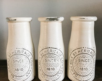 Milk Jar, White Milk Jar, Rustic Decor, Farmhouse Decor, Mason Jar Decor, Kitchen Decor, White Jars, Wedding Decor, Painted Milk Jars