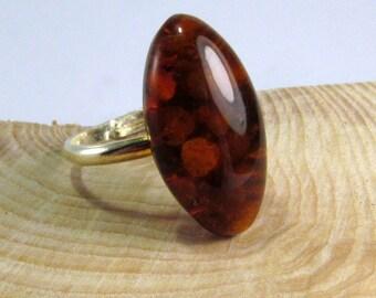Nice Baltic Amber Ring, 2,0 gram Handmade Dark Amber Adjustable Ring, Fossil Amber Gemstone
